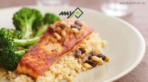 ماهی قزل آلا سرخ شده با بروکلی - غذای رژیمی